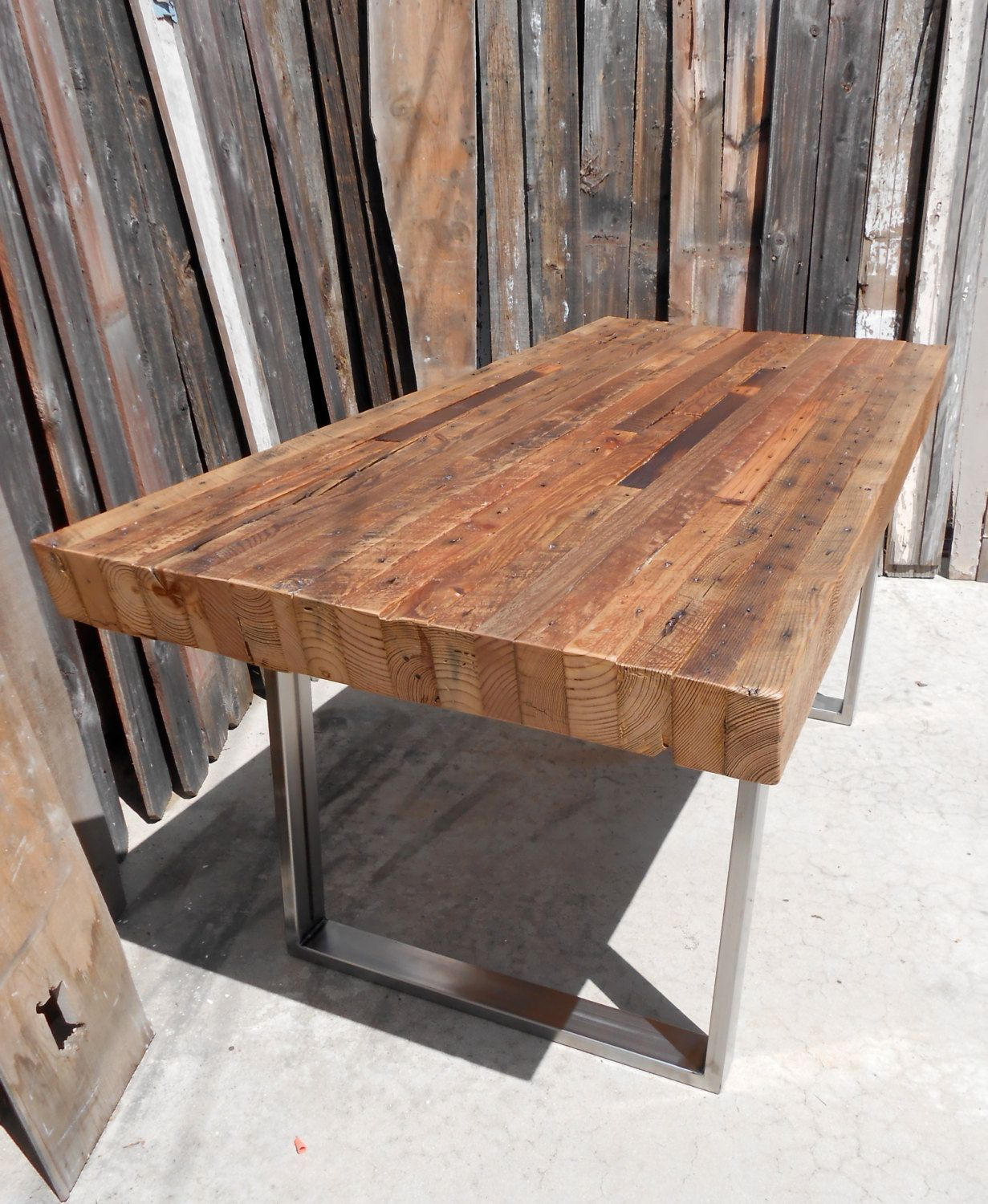 Custom Handmade Rustic Industrial Modern Reclaimed Wood Metal Steel Dining Patio Picnic Table Restaurant Commercial Grade Reclaimed Wood Dining Table Wood Dining Room Wood Dining Table