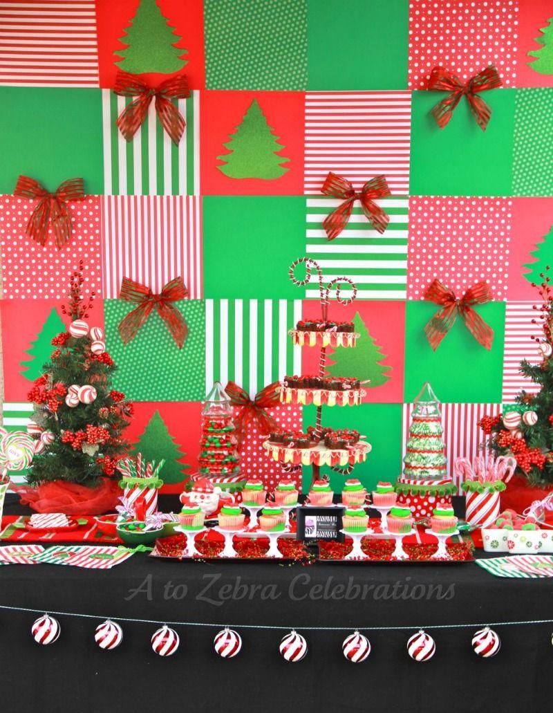 Backdrop Idea Christmas Party Decorations Diy Christmas Party Table Green Christmas Decorations
