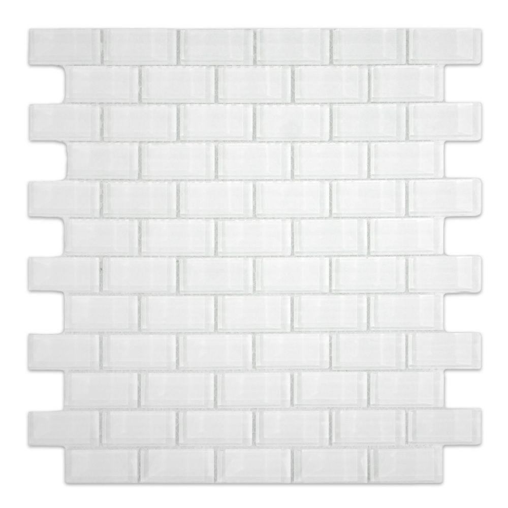 White 1x2 Mini Glass Subway Tile | Subway tiles, Glass and Kitchens
