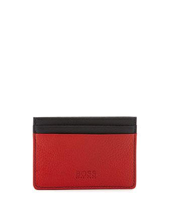 Boss Hugo Boss Colorblock Leather Card Case, Navy/Red