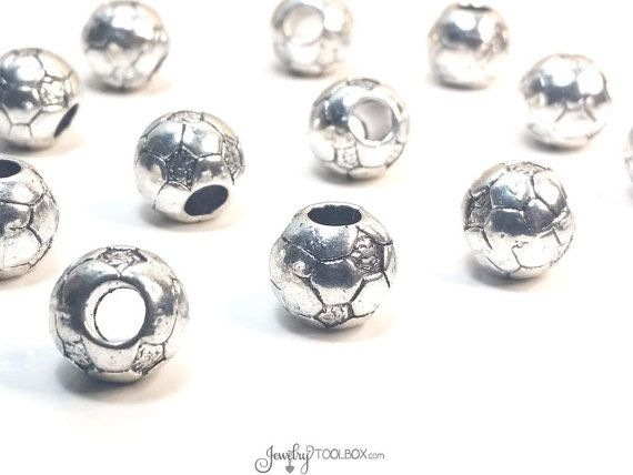 Soccer Ball Beads, Extra Large Hole Beads, Metal Beads. Antique Silver Pewter, 11x11mm, 5mm Hole, Lead Free, Lot Size 4 to 15, #1313 BH
