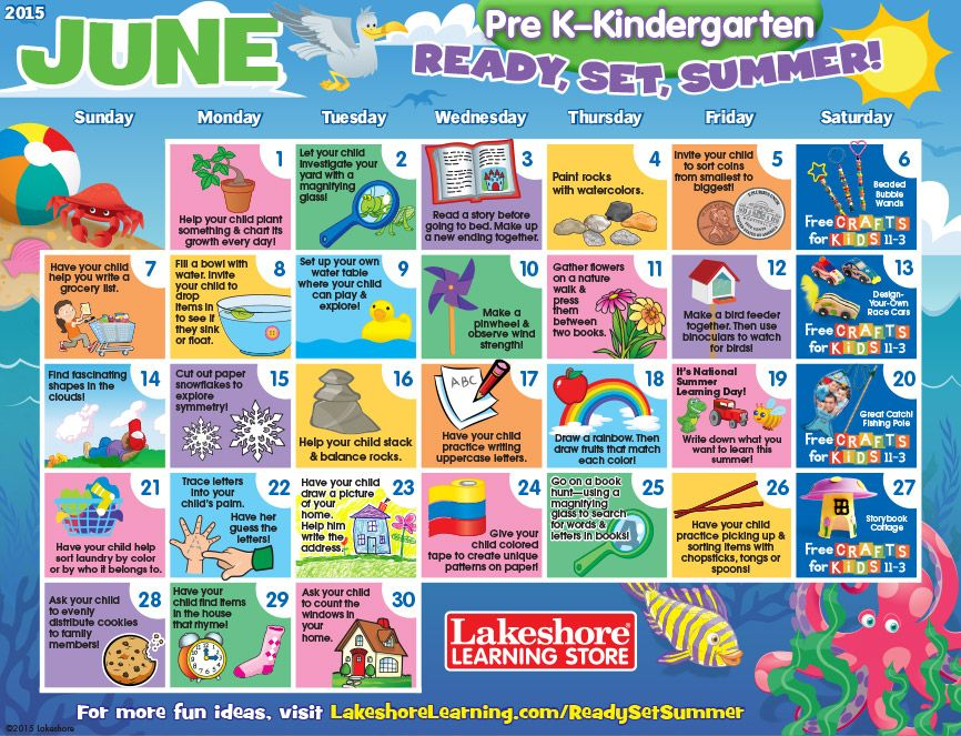 June  Pre KKindergarten Activity Calendar  Fun For Toddlers