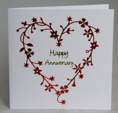 A Beautiful Handmade Floral Heart Anniversary Card Very Romantic