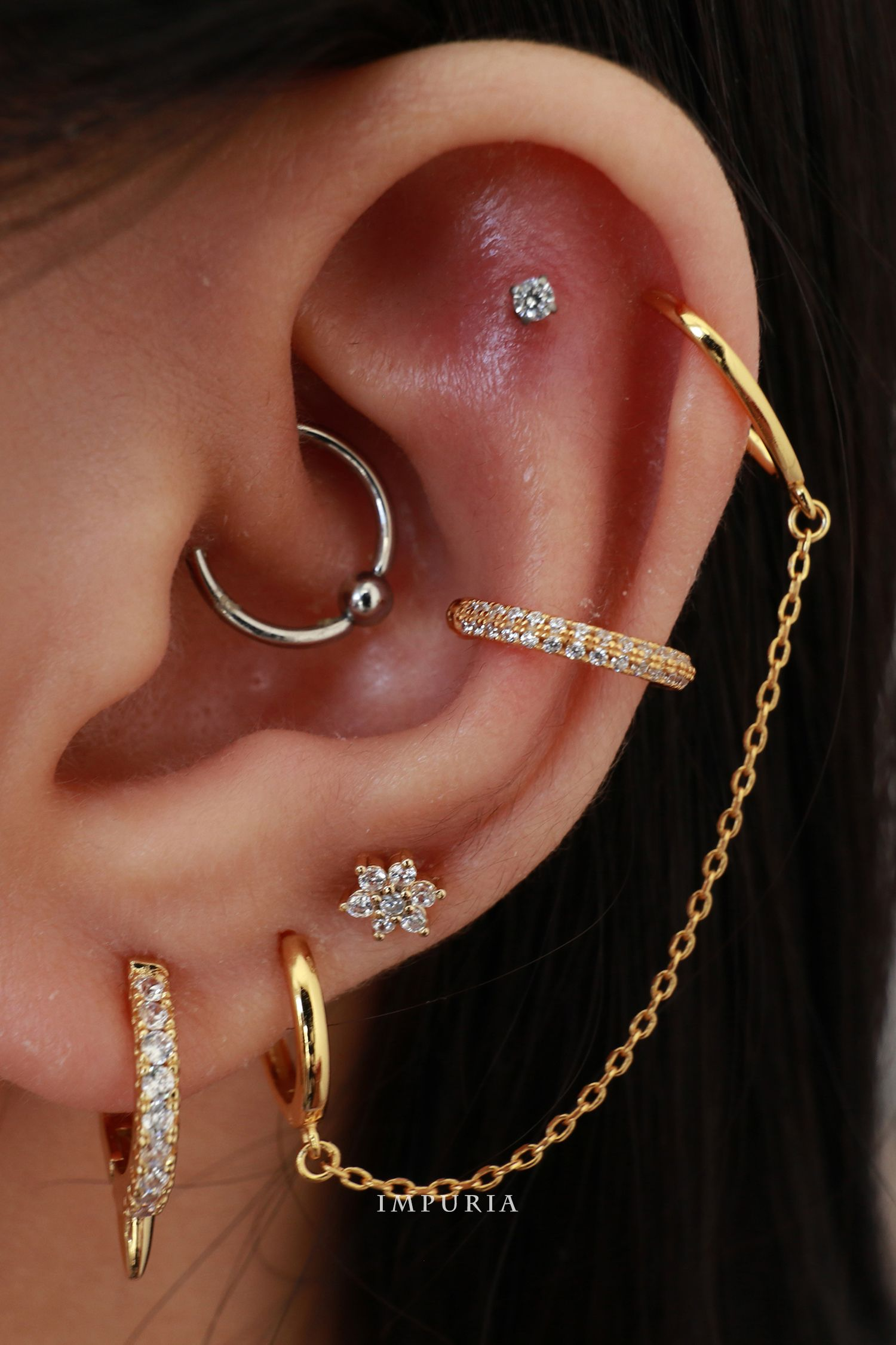 16G Tiny Clear Crystals Dainty Prong Set Labrets Curated Ear Stud Triple Helix