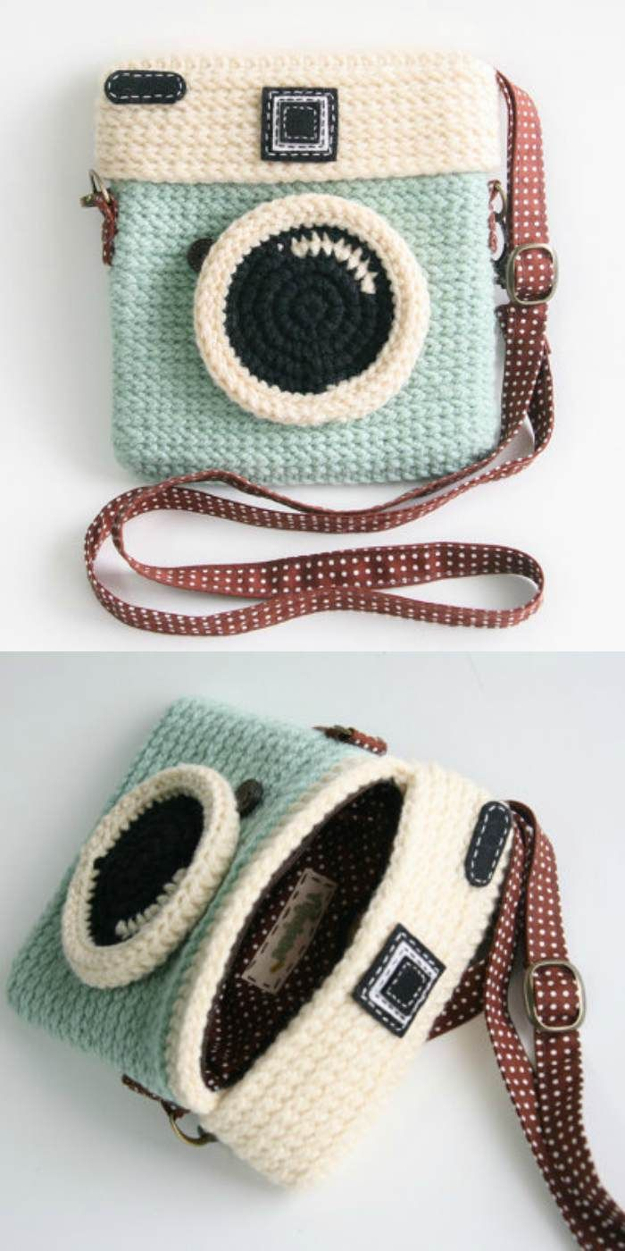 Crochet Camera Purse The Best Ideas [Free Pattern and Video Tutorial] #eyeshaveit