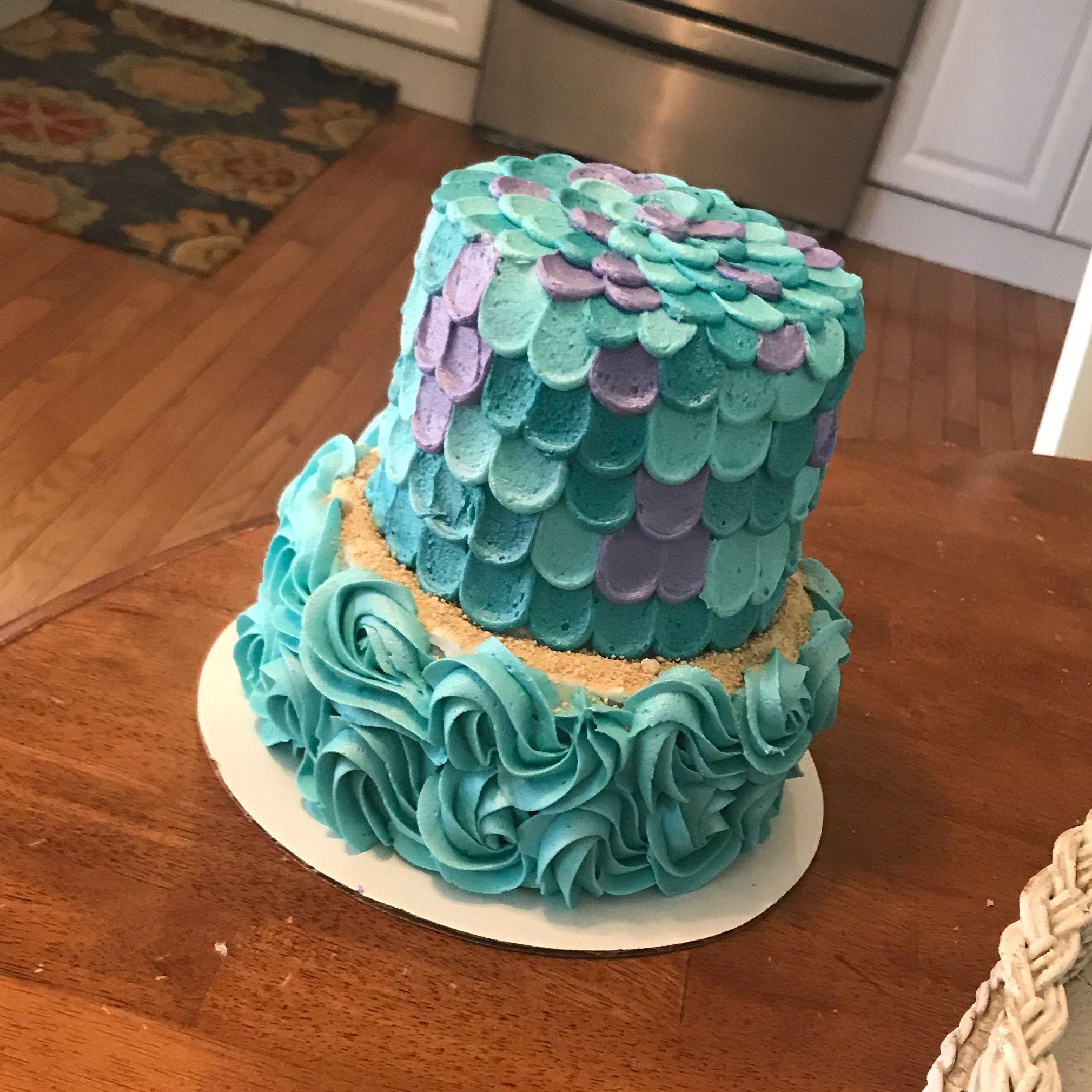 Mermaid Theme Birthday Mini 2 Tier Smash Cake