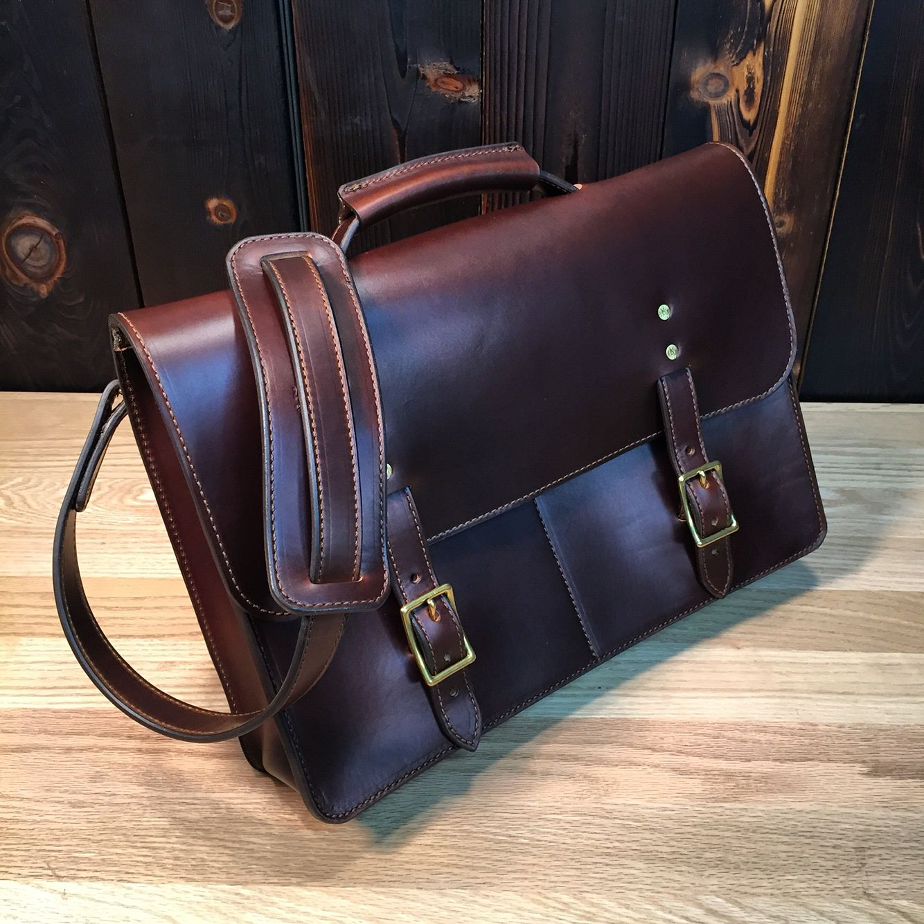 610228de707a The Odin Satchel from www.OdinLeatherGoods.com Handmade with brown Horween  Chromexcel leather and solid brass hardware.  450