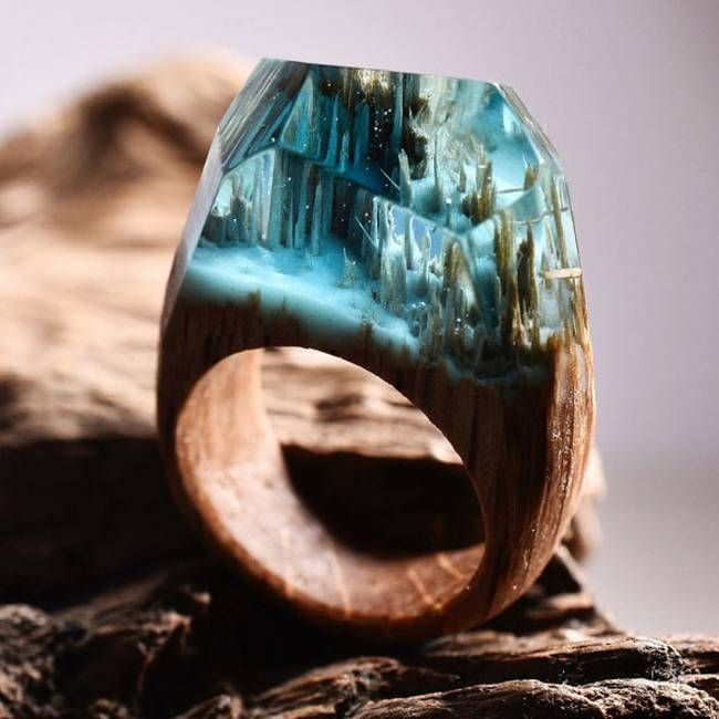 Waterfall ring made with light oak light blue jewellery resin and white snow that glows in the dark by secret wood