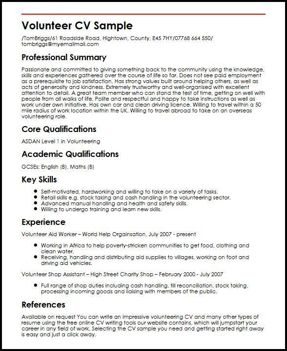 Resume Examples Volunteer #examples #resume #ResumeExamples - examples of professional summary for resume