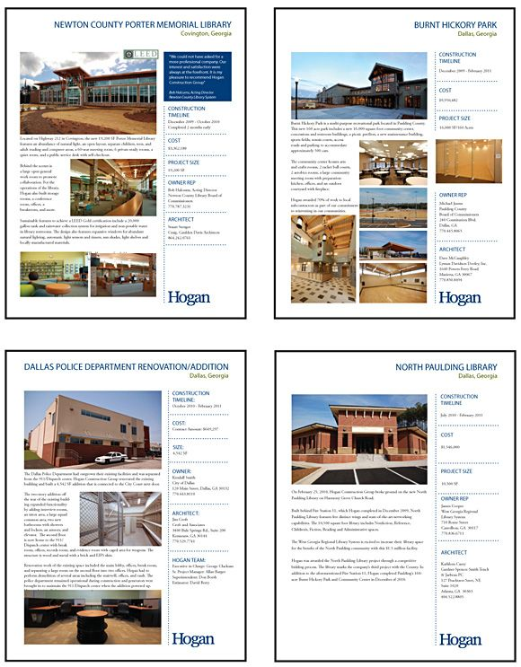 Hogan Construction Group S Project Write Up Sheets Interviewing