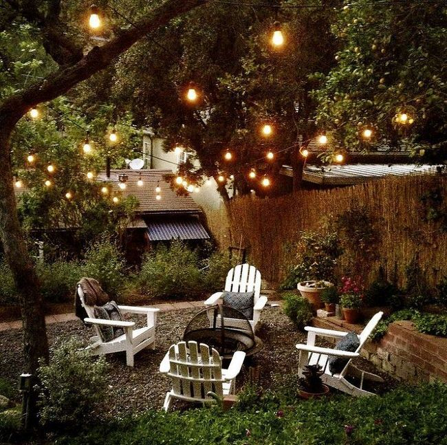 Outdoor lights, strung from trees (to the back of the garage?)                                                                                                                                                                                 More