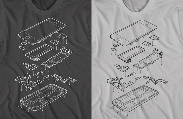 Exploded Phone 5, TShirt Design Shows an Internal View of