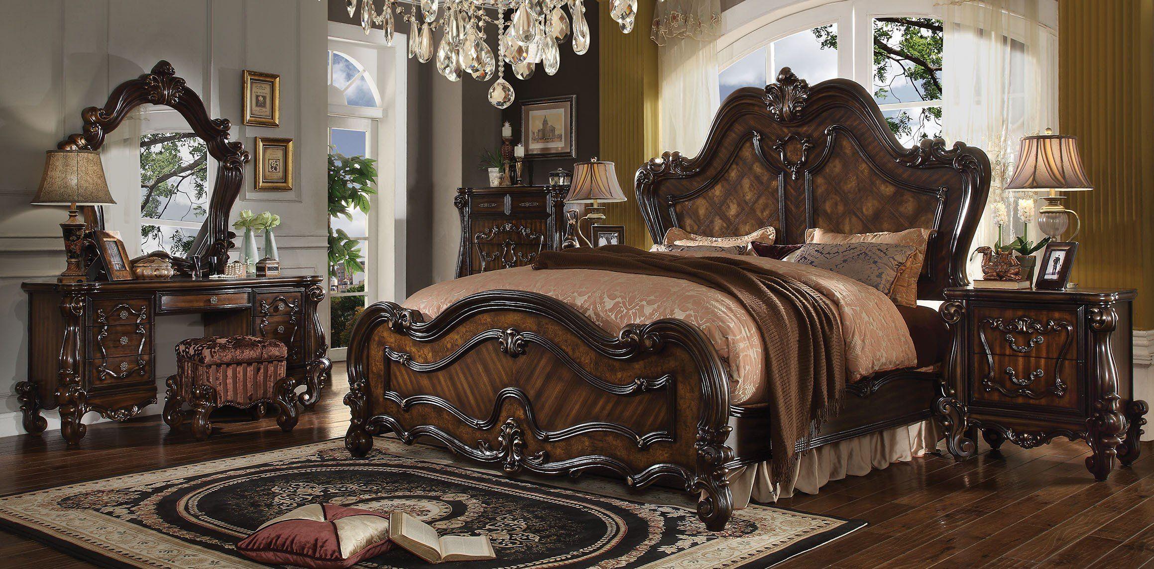 Acme 21784Ck Versailles 5Pcs Cherry Oak Cal King Sleigh Bedroom Pleasing Cal King Bedroom Sets Design Ideas