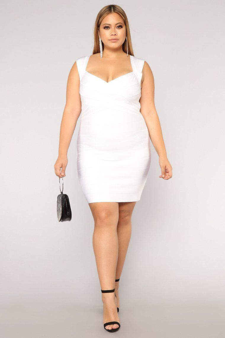 Normandy Bandage Dress - White | Catherine Li - Plus Model ...