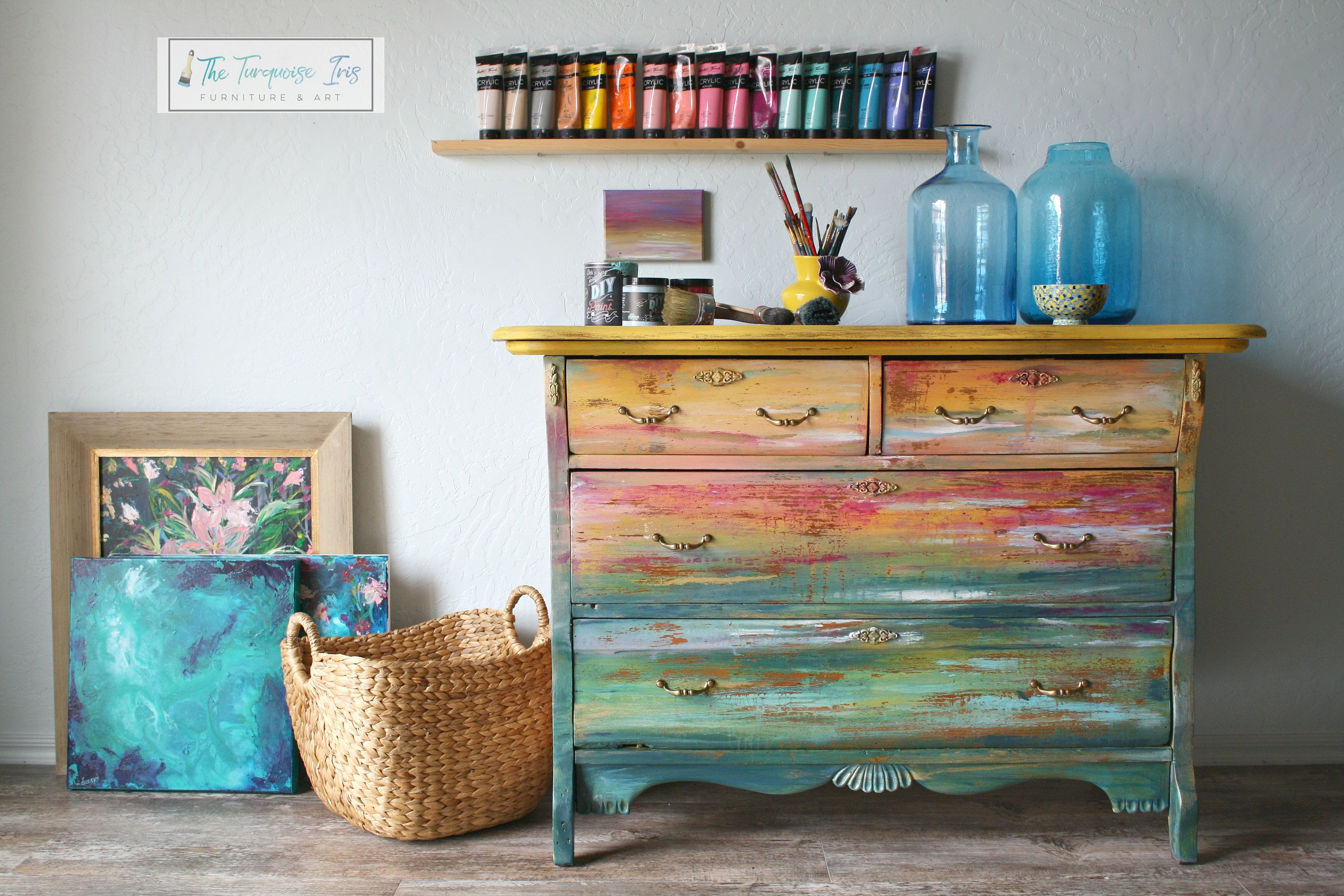Gorgeous Dresser Featuring And Abstract Sunset Seascape Hand