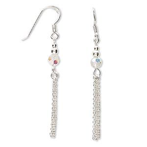 Sterling silver and crystal chain earrings, clear AB, 5mm round, approx. 2-inches long overall. Sold per pair.