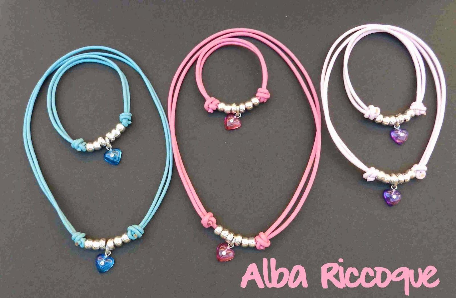 02947cc20612 conjuntos niñas collar pulsera cordon de cuero y corazon diferentes colores
