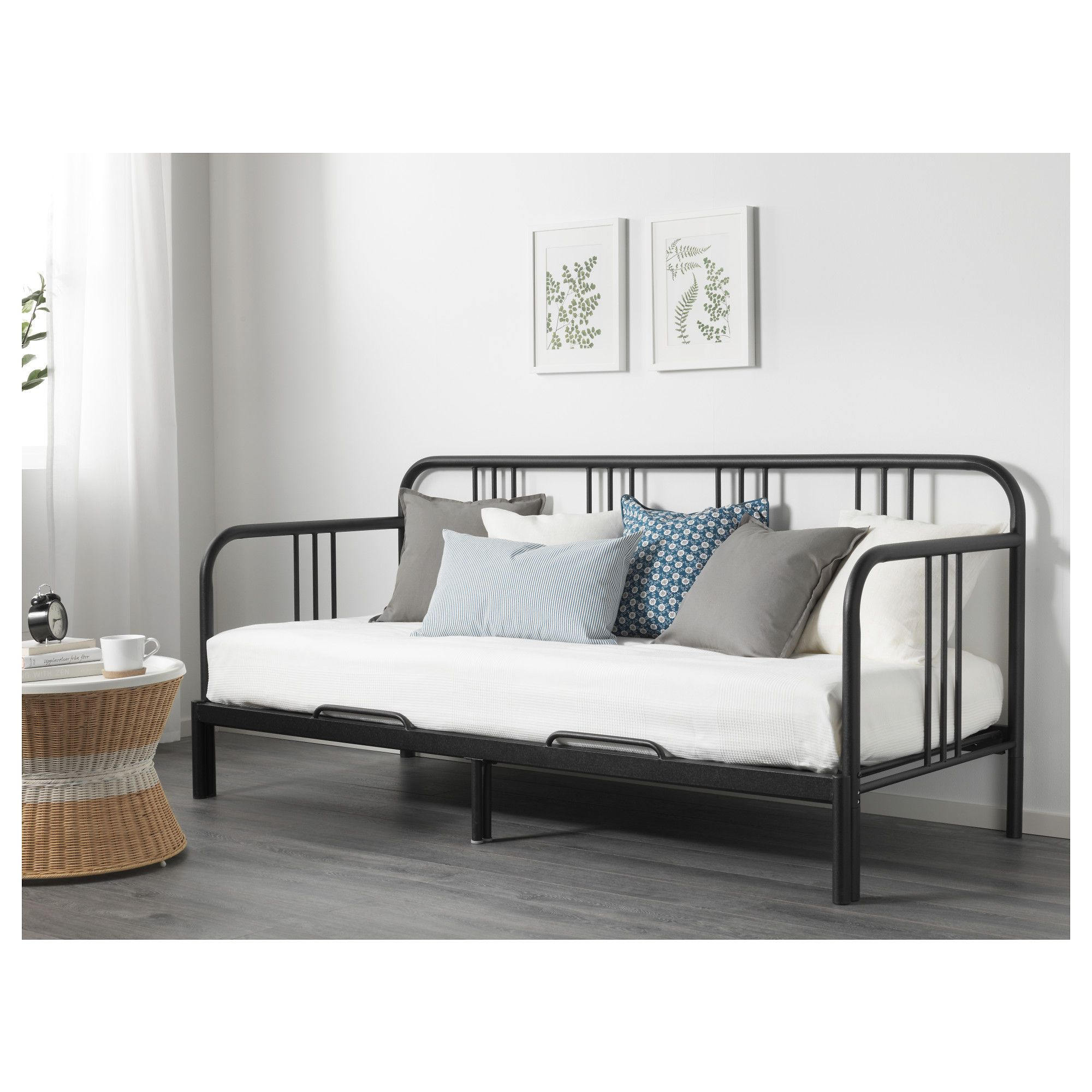 Hemnes day bed frame with 3 drawers grey 80x200 cm ikea - Fyresdal Day Bed With 2 Mattresses Black Moshult Firm 80x200 Cm