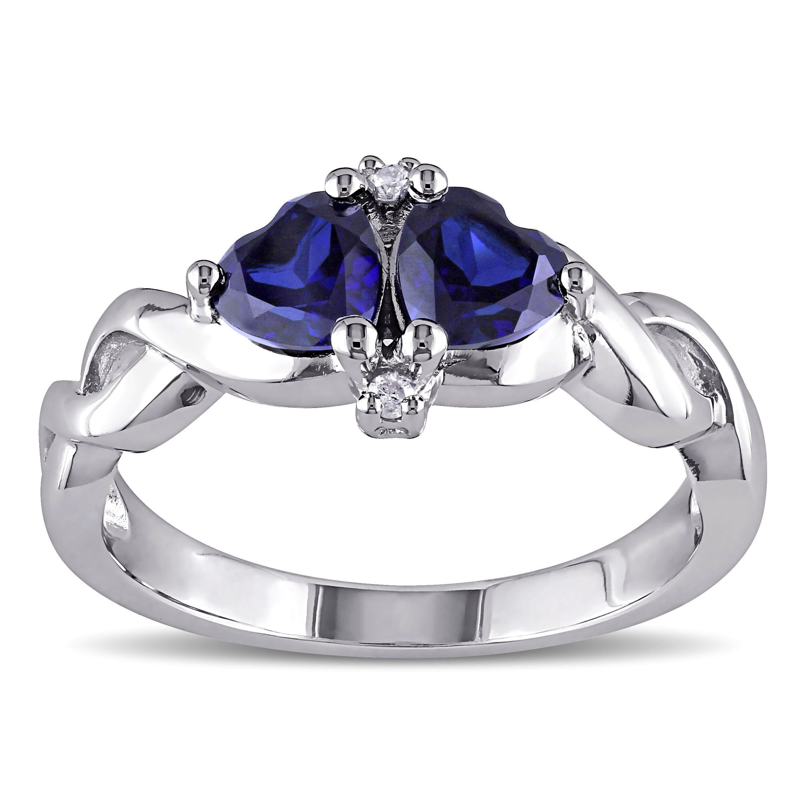 Miadora Sterling Silver Created Blue Sapphire And Diamond Accent Heart Ring  By Miadora