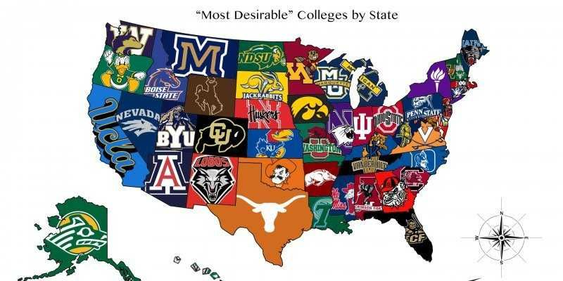 us map of colleges The Most Desirable College In Each State Map Colleges In Utah