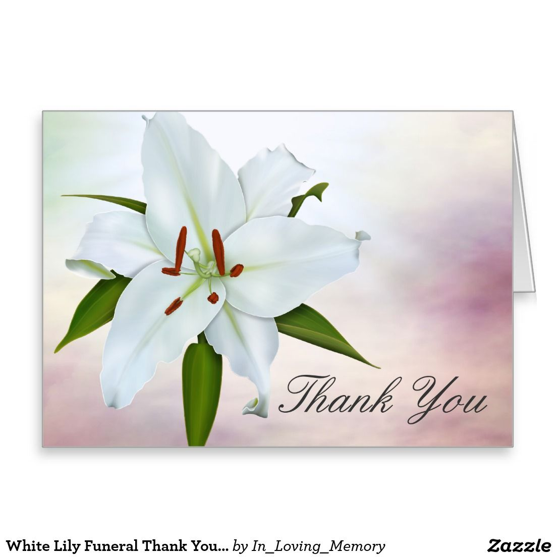 White lily funeral thank you cards pinterest white lilies and white lily funeral thank you cards izmirmasajfo