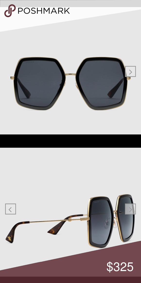 7ca398b880a GUCCI SQUARE FRAME SUNGLASSES -style 470458 I3330 1801 Gold metal frame  with black acetate