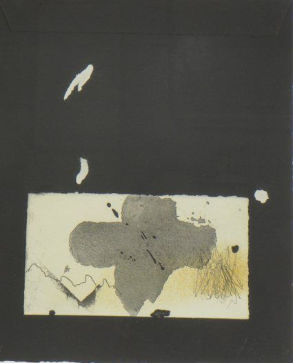 Artist: Antoni Tàpies, title: Collage sobre negre, technology: Etching and Collage