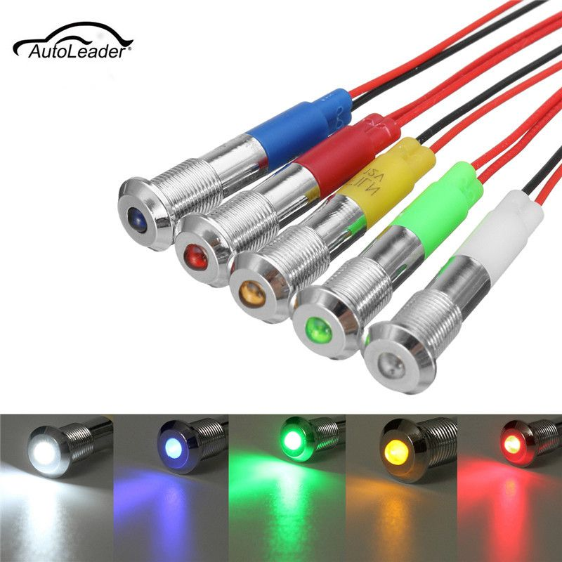 5pcs 12v 6mm Led Panel Dash Waring Light Indicator Lamp Waterproof For Car Truck Van Boat Led Panel Car Lights Cars Trucks