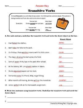 Transitive Verbs Practice Page A Grammar Onesie Upper Elementary