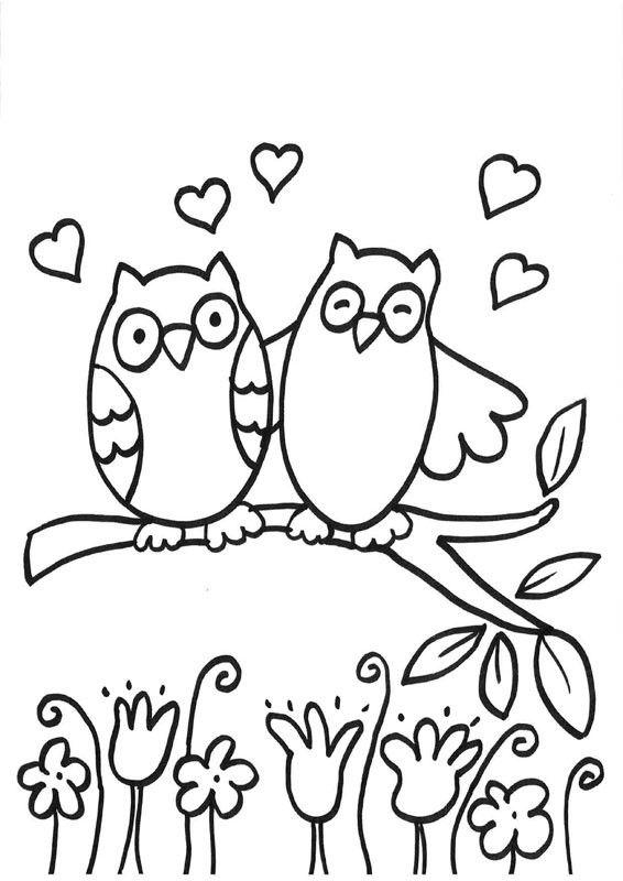 Buhos Enamorados Dibujo Para Colorear E Imprimir Dibujos Para