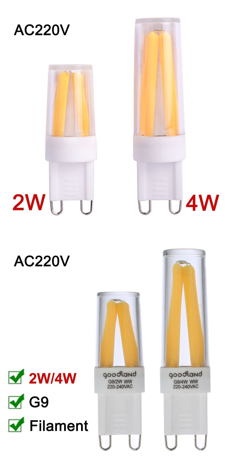 Lampen G9 Dimmable G9 Led Lamp 220v Mini Led G9 Filament Bulb 2w 4w G9 Light