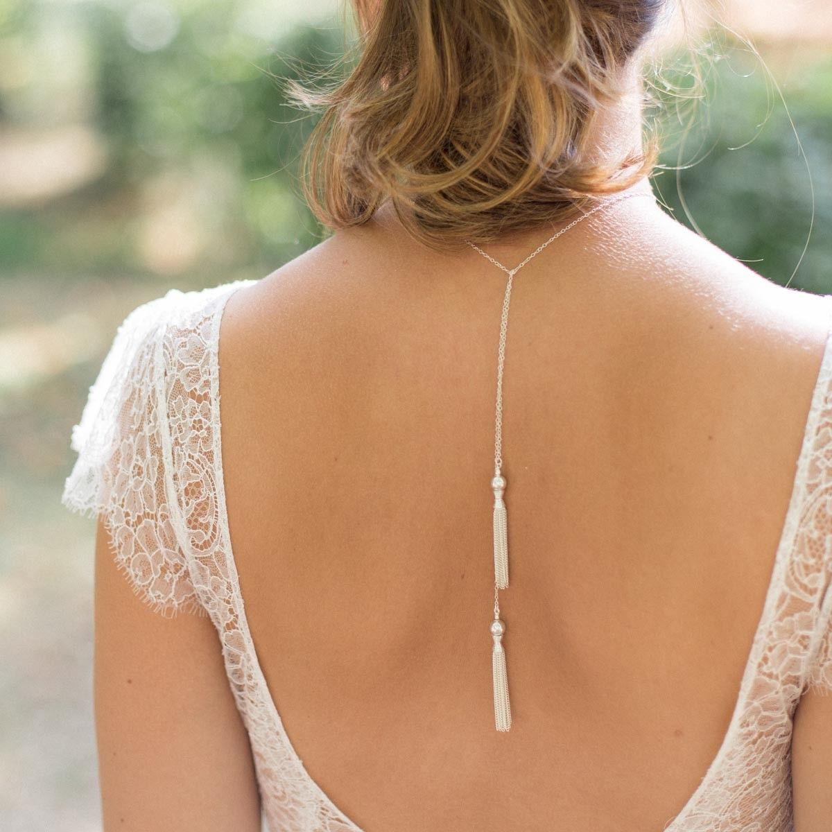 Bijou de dos en argent avec pompons bijoux etniques pinterest