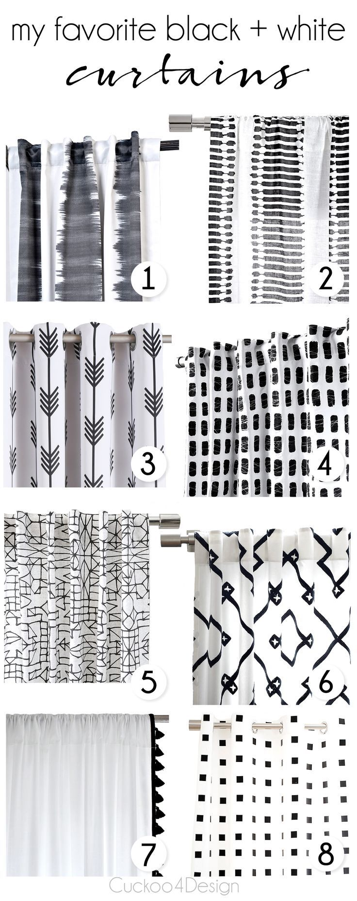 My Favorite Black And White Curtains Cuckoo4design White