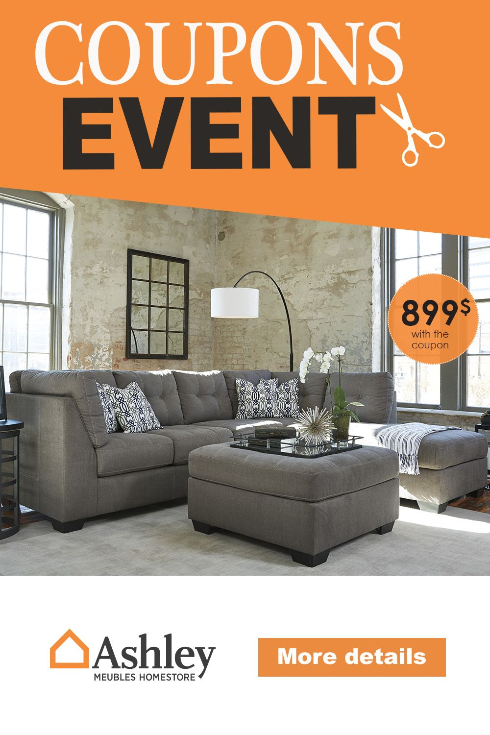 Enjoy Our Coupon Event And Get A Free Footrest When You Buy A Sectional Find Out More Coupons N Ashley Furniture Sectional Ashley Furniture Mattress Furniture