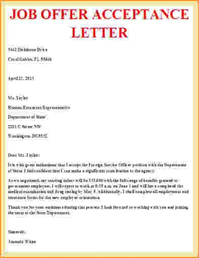 Job Offer Acceptance Letter Example  Sujets As    Job