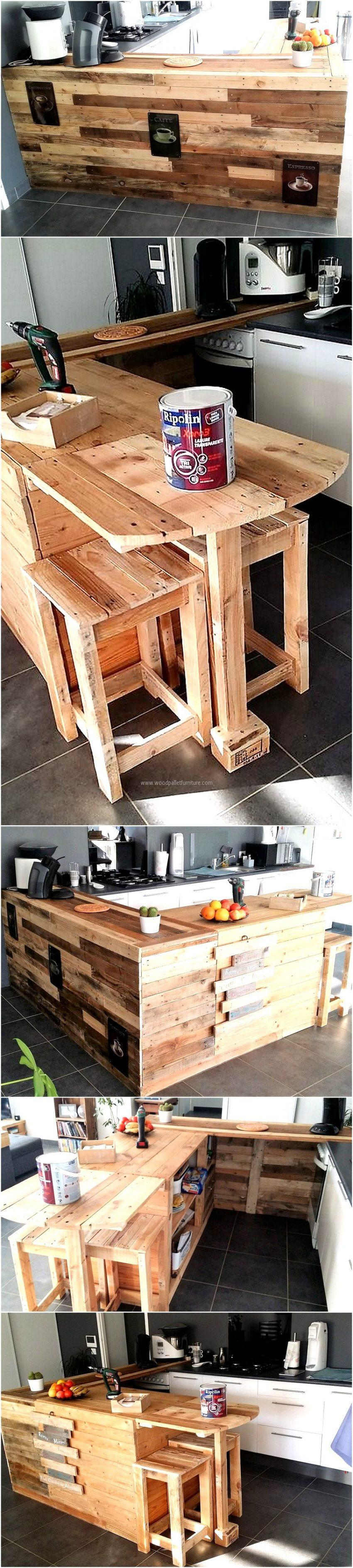Repurposed Pallet Kitchen with Attached Seating