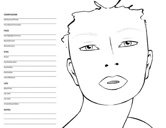 Face charts! I like this one best Just need to Photoshop it a bit - blank face templates