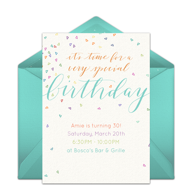 One Of Our Favorite Free Birthday Party Invitations Colorful Confetti Easily Personalize And Send Via Email For A Festive