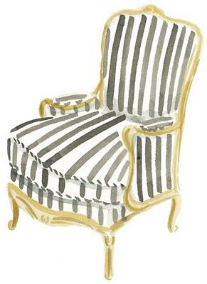 love the modern stripe on this classic chair, water color by caitlin mcgauley