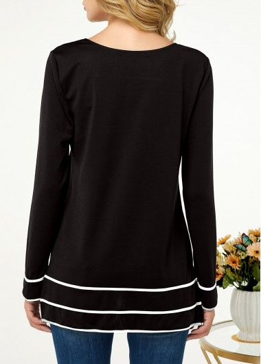 Striped Button Embellished Long Sleeve T Shirt | liligal.com - USD $27.72 #stripedlongsleevetops