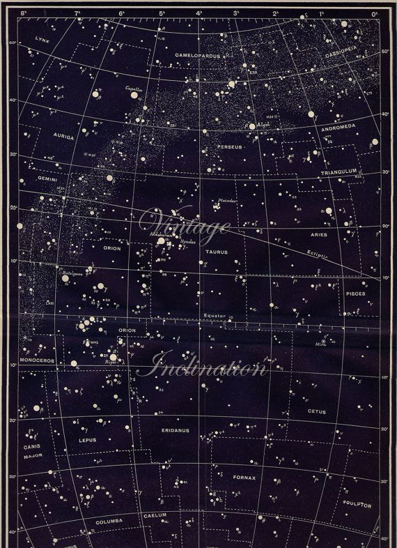 LARGE Vintage Constellations Capella, Perseus, Orion and ...