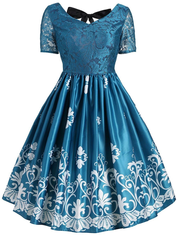 4b94045046a Print Lace Panel Vintage Party Dress - GREEN M