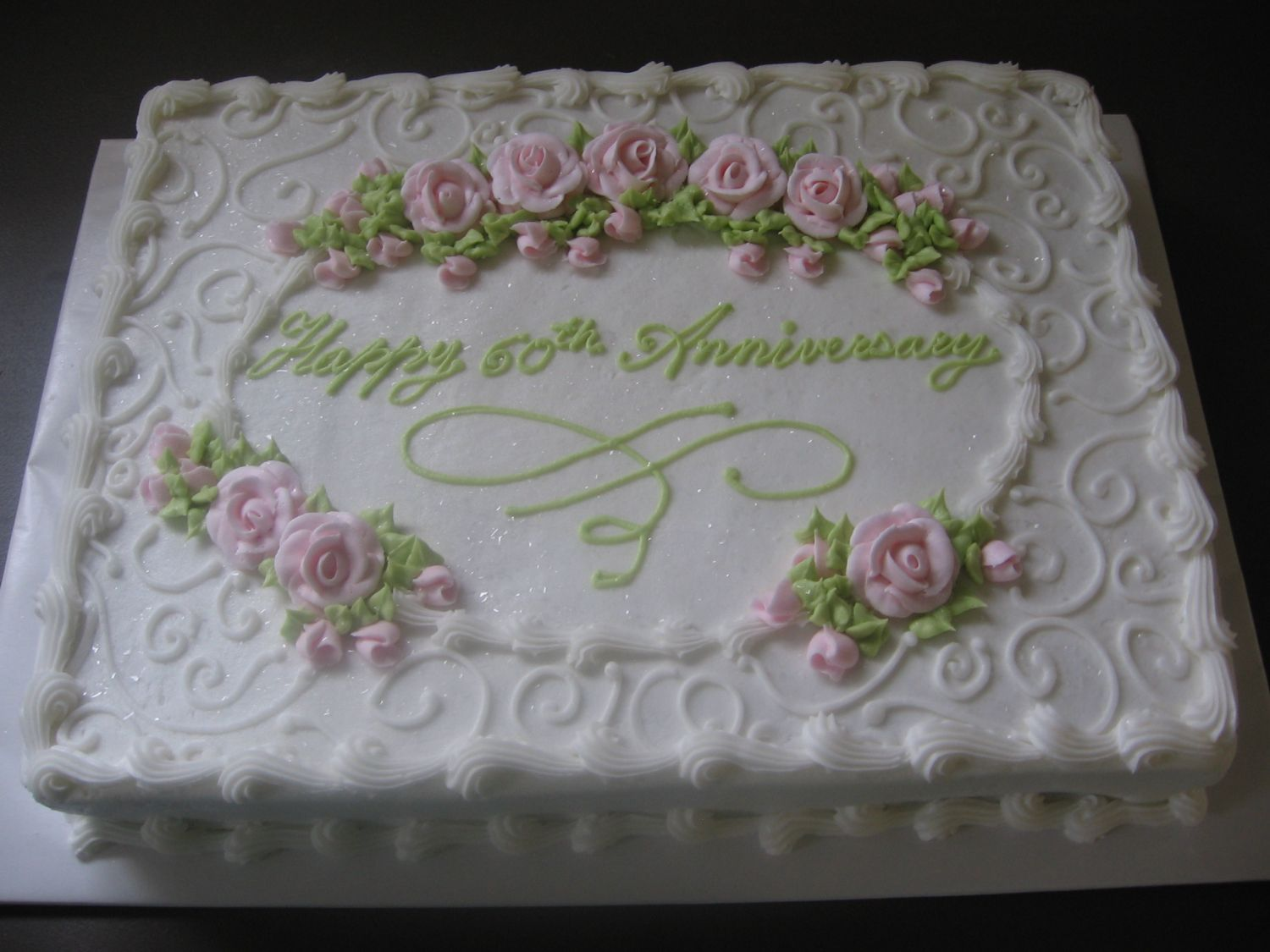 Anniversary this is an 11x15 sheet cake with pink royal