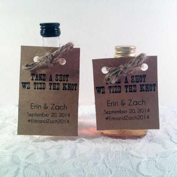Mini Alcohol Bottle Tag Unique Wedding Favors Take A Shot We