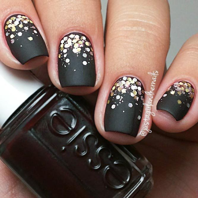 Matte Black Nails with Gold Sequins Designs picture 2 | Дизайн ...