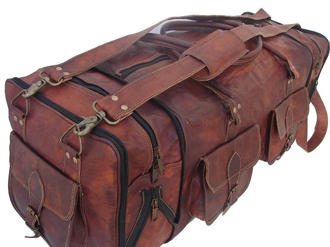 Large New Men/'s duffel genuine Leather vintage travel gym weekend overnight bag
