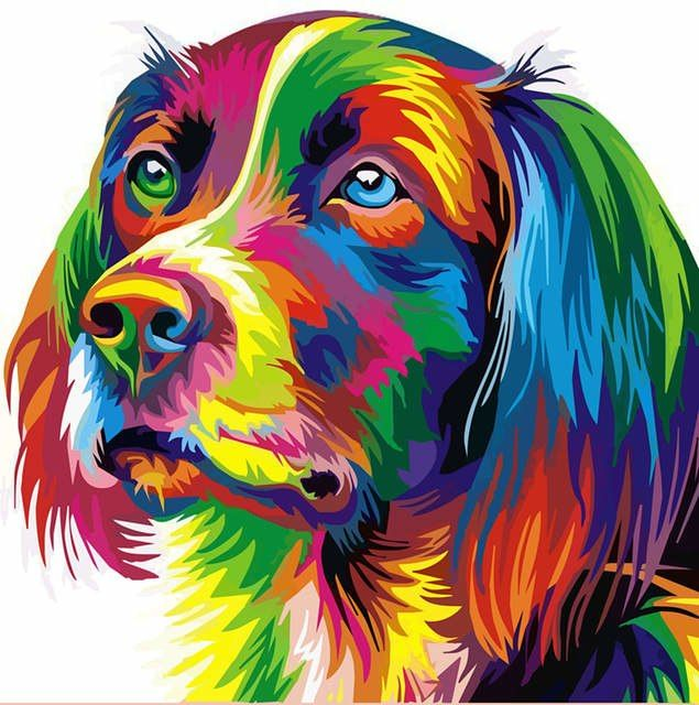 Caligrafía Pintura de pared Perro Fracals Rainbow Color de Lona Animal Impreso Bellas Artes Anime Poster Prints Home Decor Wall Art
