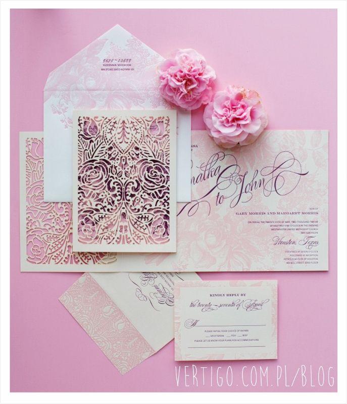 Piękne Zaproszenia ślubne Ażurowe Kartki Zaproszenia ślubne