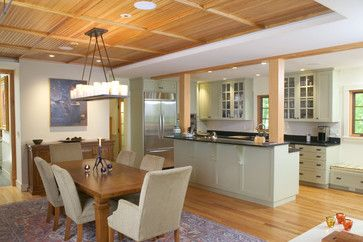 Galley Kitchen With Bar Separating Dining Room Design Ideas