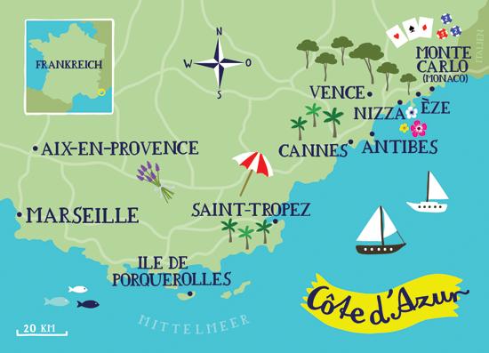 Map Of Cote D Azur Illustrated Map of Cote d'Azur by bianca tschaikner, via Behance  Map Of Cote D Azur